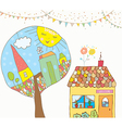 Greeting card with house trees bunting flags for vector image vector image