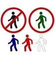 Prohibited signs walking man vector image vector image