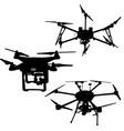 black set silhouette drone quadrocopter on white vector image