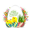 easter egg and chicken poster springtime flowers vector image