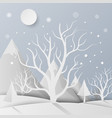 forest with snow and mountain paper art style vector image