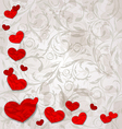 set crumpled paper hearts on grunge floral vector image