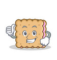 thumbs up biscuit cartoon character style vector image