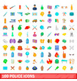 100 police icons set cartoon style vector image