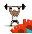 bodybuilder fitness dumbbell and gloves vector image