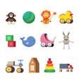 kids toys set colorful flat vector image