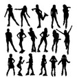 silhouettes of people rollerskating vector image