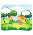 Boy and girl in the park at daytime vector image vector image