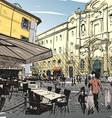 City hand drawn Cafe sketch vector image