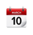 March 10 flat daily calendar icon Date vector image