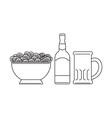 Beer Bottle Mug Bowl Potato Chips vector image