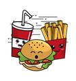 Kawaii fast food icon adorable expression vector image