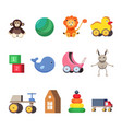 kids toys set colorful flat vector image