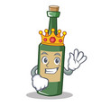 king wine bottle character cartoon vector image