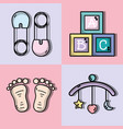 set cute babies tools icons vector image