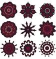 Set of burgundy mandalas vector image