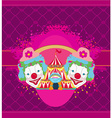 Circus and clowns abstract funny card vector image