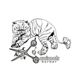 Hand drawn persian cat Barber style vector image