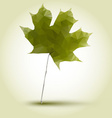 polygonal green maple leaf vector image