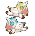 Two handmade soft toys unicorn isolated vector image