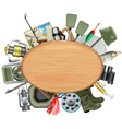 Wooden Board with Fishing Tackle vector image