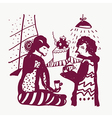Tea and man and woman sketch funny vector image