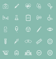 Medical line icons on green background vector image