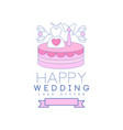 cute line logo design with cake dress and tie on vector image