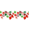 Seamless horizontal border with Christmas vector image