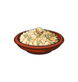 sketch bowl of mashed pototo with piece of butter vector image