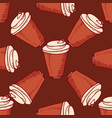 seamless pattern with hand drawn cups vector image