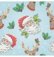 Santa Claus and Deer characters seamless pattern vector image vector image