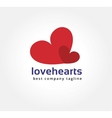 Abstract two hearts logo icon concept Logotype vector image
