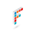 3d cube letter F logo icon design template vector image