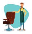cute barber cartoon happy hipster barber vector image