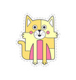 cute funny cat colorful cloth patch applique for vector image