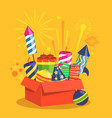 fireworks and pyrotechnics in box on yellow vector image
