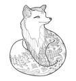 Fox with fantasy ornament vector image