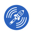 icon of a satellite rocket in a blue circle on a vector image