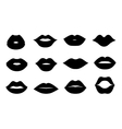 Lips icons shape set vector image