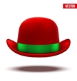 Red bowler hat on a white background vector image