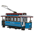 Vintage blue tram vector image