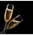 Two glasses with champagne on a black background vector image