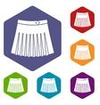 Tennis female skirt icons set vector image