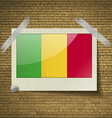 Flags Mali at frame on a brick background vector image