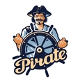 Jolly pirate at the helm of the ship vector image