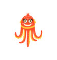 cute octopus funny sea creature hand drawn vector image