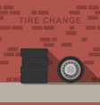 garage interior with wheels and tire vector image