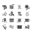 Hand drawn knitting embroidering and sewing icons vector image