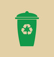 rubbish bin with recycle symbol green arrows logo vector image